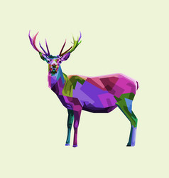 colorful deer on geometric pop art style vector image