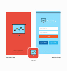 company graph chart splash screen and login page vector image