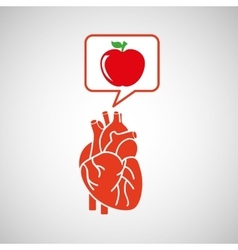 concept healthy heart delicious apple food icon vector image