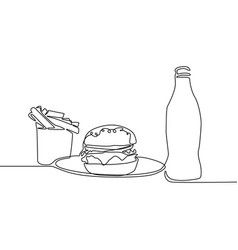 continuous line french fries burger and soda vector image
