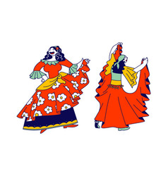 Couple beautiful gypsy women dressed in vector
