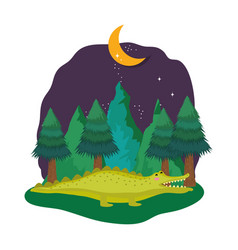 cute crocodile in the landscape on the night vector image