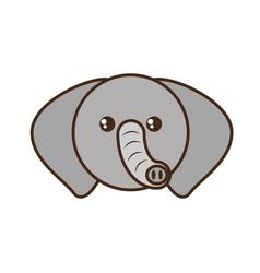 cute elephant face kawaii style vector image