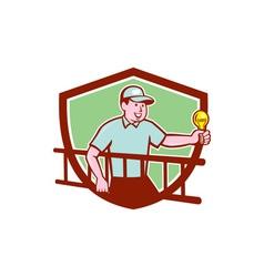 Electrician Ladder Light Bulb Shield Cartoon vector