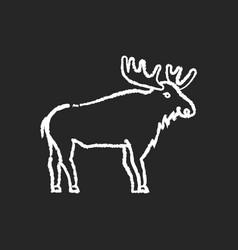 Elk chalk white icon on black background vector