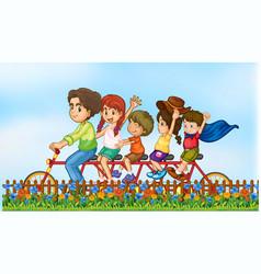 Family riding trailer bike vector