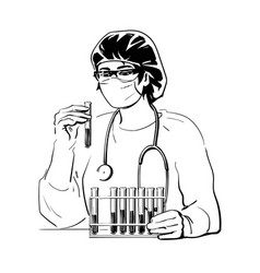 female doctor holding test tube with blood samples vector image