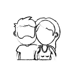 figure couple lover together with hairstyle design vector image