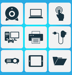 Gadget icons set with dossier laptop plug and vector