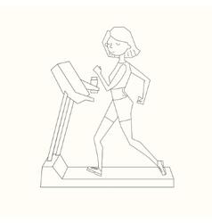 Girl run treadmill black and white color vector
