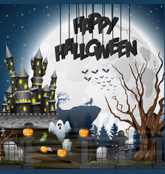halloween background with graveyard and castle vector image