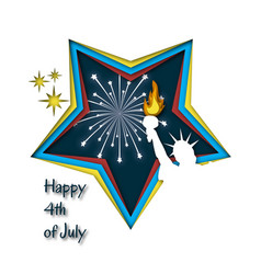 happy 4th of july greeting card template with vector image