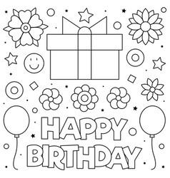 happy birthday present coloring page vector image