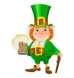 happy st patricks day cheerful leprechaun vector image