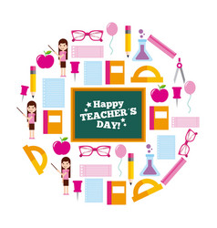 Happy teacher day card circle icons decoration vector