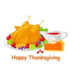 Happy thanksgiving turkey meal dish poster vector