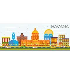 Havana Skyline with Color Buildings vector
