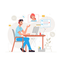 helpline online customer service support center vector image