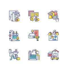 Home improvements rgb color icons set vector