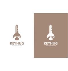Key and hands logo combination lock vector