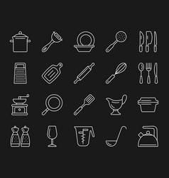 Kitchenware simple white line icons set vector