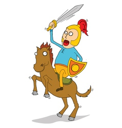 Knight riding horse vector image