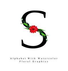 letter s watercolor floral background vector image