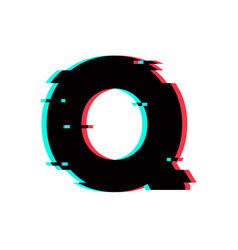 Logo letter q glitch distortion vector