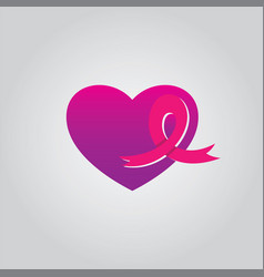 love ribbon cancer vector image