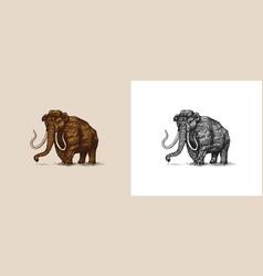 Mammoth or extinct elephant trunked mammals vector