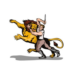 Man Fighting Lion Retro vector