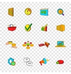Marketing set icons pop-art style vector