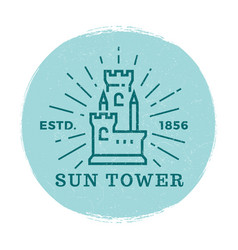 Medieval tower label vector