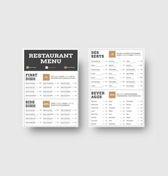 menu template for cafes or restaurants with vector image
