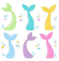 Mermaid tails collection vector