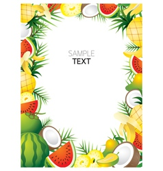 Mixed Tropical Fruits Frame Border vector