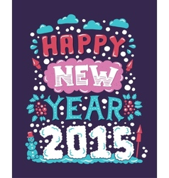 Modern flat design hipster New Year 2015 postcard vector image