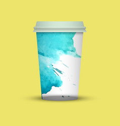 Modern watercolor coffee cup template vector