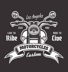 motorcycle emblem with ribbon for text vector image