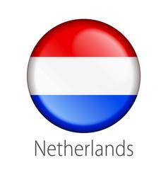 Netherlands round button flag vector