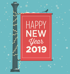 new-year-2019-street-sign-banner vector image
