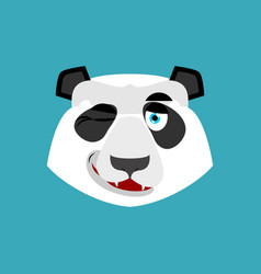 panda winking emoji chinese bear happy emotion vector image