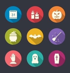 Party Flat Icons with Halloween vector image