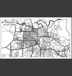 Pekanbaru indonesia city map in black and white vector