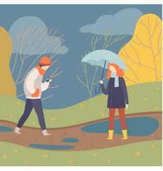 People walking in rain young man and woman on vector