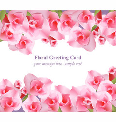 Pink floral card delicate summer card vector