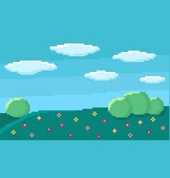 Pixel art game background vector