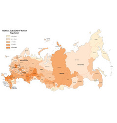 Population map federal subjects russia vector