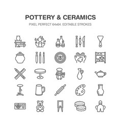 Pottery workshop ceramics classes line icons vector