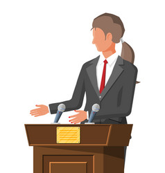 public speaker and rostrum with microphones vector image